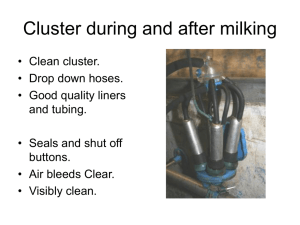 Cluster during and after milking - IMQCS