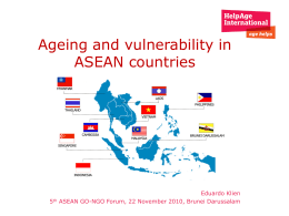 Ageing and vulnerability in ASEAN countries, Eduardo Klien, Brunei
