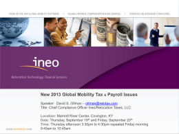2013 Global Mobility Tax and Payroll Issues