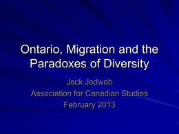 Population growth and paradoxes of diversity Ontario and the ROC