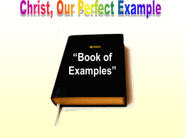 Christ Our Perfect Example