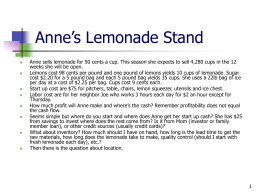 Anne`s Lemonade Stand - The Controllership Group