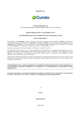PROSPECTUS CURATO HOLDING AS (A private limited liability