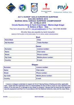 Entry Form Act 2 Europ Sails European Suprise Sailing