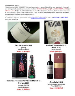 09 Dec., 2014 ~ 9 Jan., 2015 Great Wine of Italy