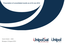 Presentation of consolidated results as at 30 June 2014