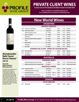 PRIVATE CLIENT WINES - Profile Wine Group
