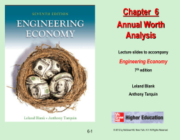 Chapter 6 - Annual Worth Analysis