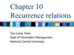 Chapter 10 Recurrence relations