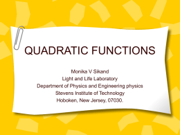 QUADRATIC FUNCTIONS - Stevens Institute of Technology