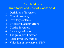 FA2: Module 7 Inventories and Cost of Goods Sold