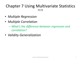 Chap 7 Using Multivariate Statistics