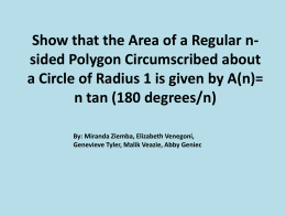Area of a regular n-sided polygon inside a circle of radius 1