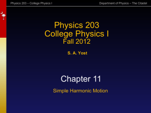 Simple Harmonic Motion - The Citadel Physics Department