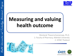 Measuring and valuing health out comes
