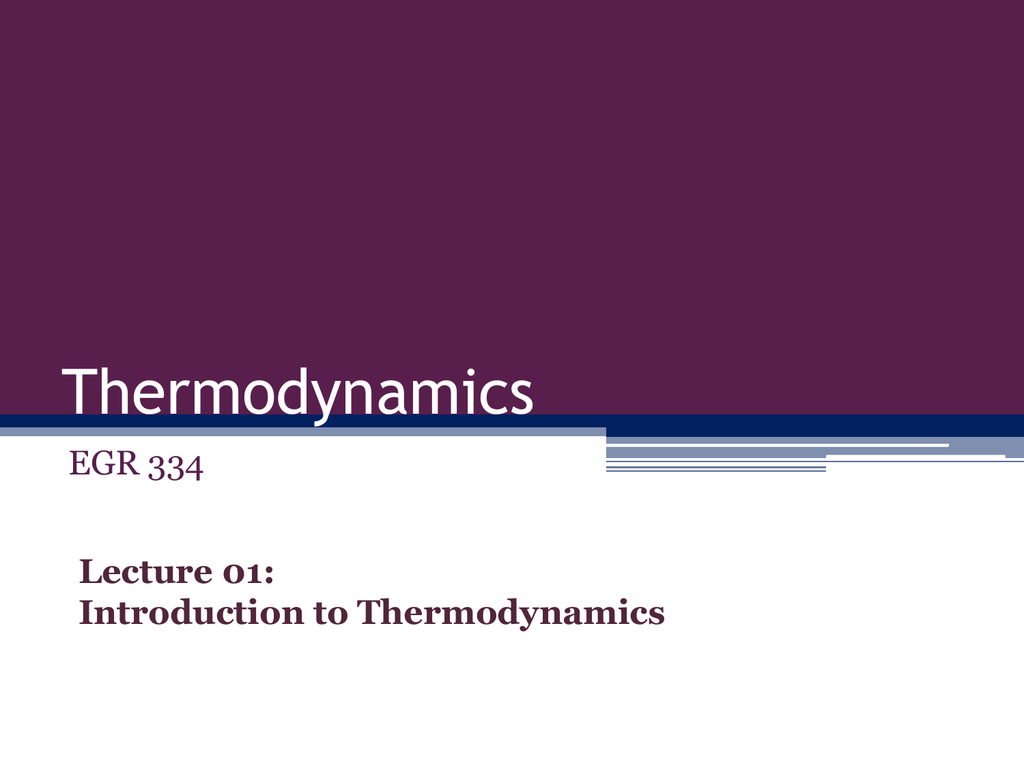 lecture introduction to thermodynamics and units review
