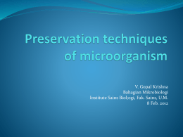 Preservation techniques of microorganism