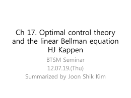 Ch 17. Optimal control theory and the linear Bellman equation
