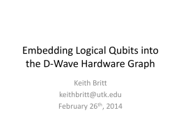 Embedding Logical Qubits into the D