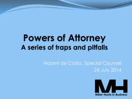 Powers of Attorney - Miller Harris Lawyers