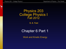 Work and Kinetic Energy - The Citadel Physics Department