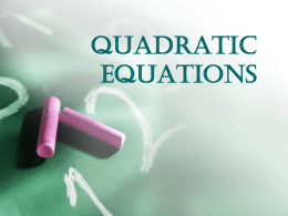 Quadratic Equations - Recruitments Today