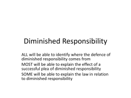 Diminished Responsibility- new law