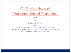 G. Derivatives of Transcendental Functions