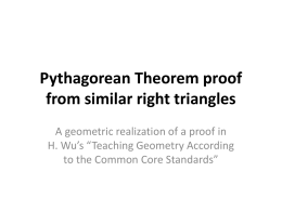 Pythagorean Theorem proof with similar right triangles