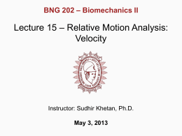 Lecture 15 - Relative Motion Analysis