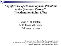 the Aharanov-Bohm Effect - Colorado Mesa University