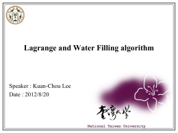 Lagrange and Water Filling Algorithm(1/4)