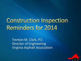 Pres. 9a - Paving Inspection Reminders - Trenton Clark