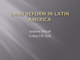 Land Reform in Latin Reform