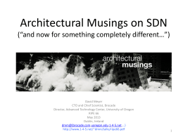 Architectural Musings on SDN