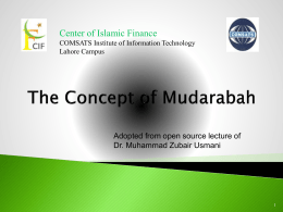 The Concept of Mudarabah adopted by Dr. Muhammad Zubair Usmani