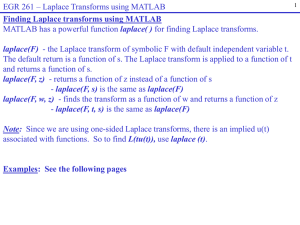 Finding Laplace transforms using MATLAB