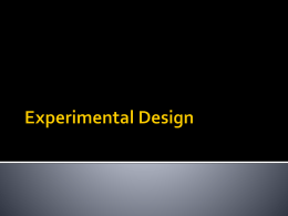 Feb. 27-- Experimental design