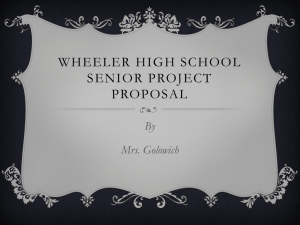 Wheeler High School Senior Project Proposal