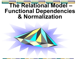Relational Model - Department of Information Systems • NJIT