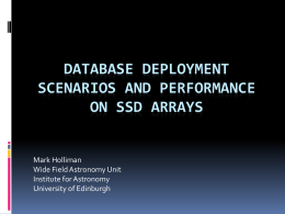 Database Deployment scenarios and performance on SSD arrays