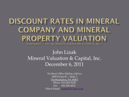 Copyright © 2011 by Mineral Valuation & Capital, Inc.