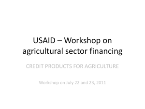 Credit Products for Agriculture