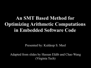 An SMT Method for Optimizing Arithmetic Computations, March 14