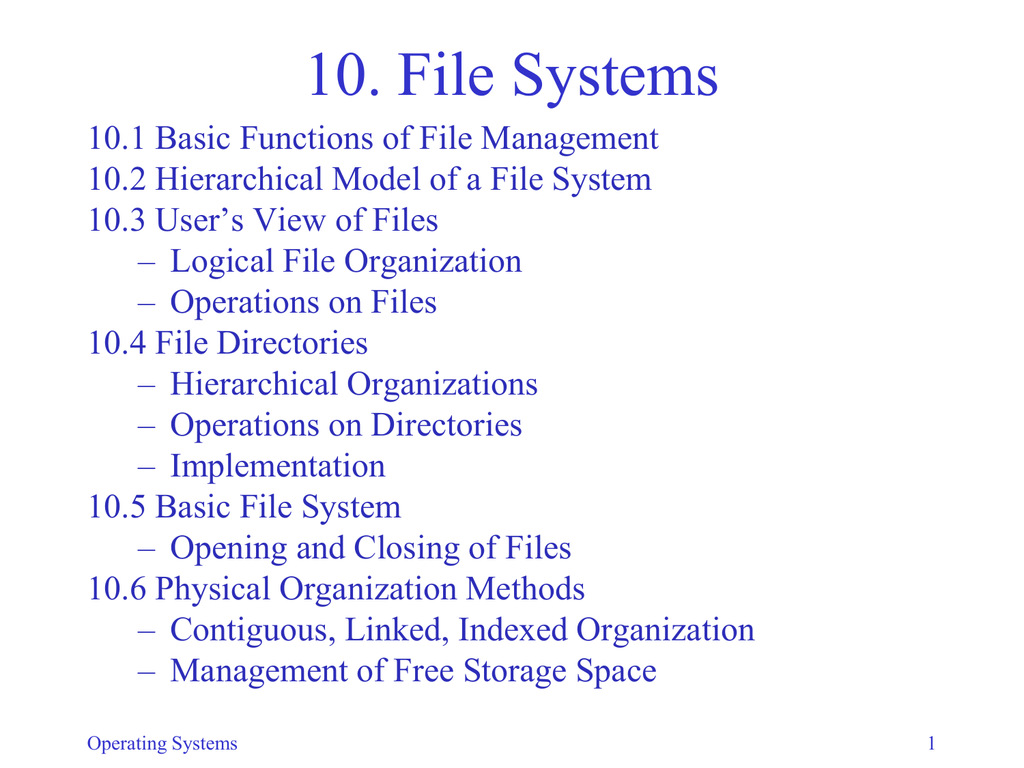 10  File Systems