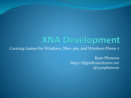 XNA Development - Digital Transfusion
