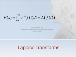 The Laplace Transform - University of Toledo