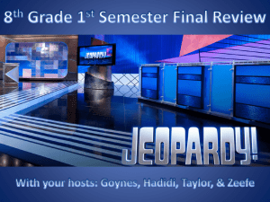 Semester Review Jeopardy Game