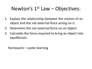 Newton*s 1st Law * Objectives: