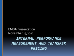Internal Performance Measurement and Transfer Pricing